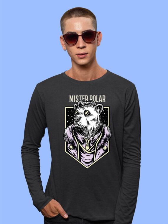 Mister Polor Black Full Sleeves Big Print T-shirt For Men 2