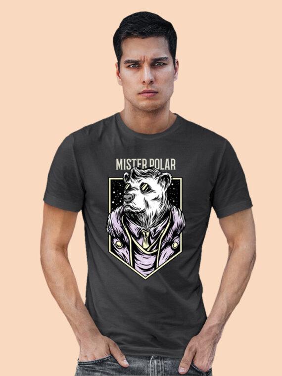 Mister Polor Black Half Sleeves Big Print T-shirt For Men 3